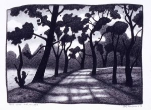 Tree lined lane, Hill End charcoal on paper 48 x 66cm 2004